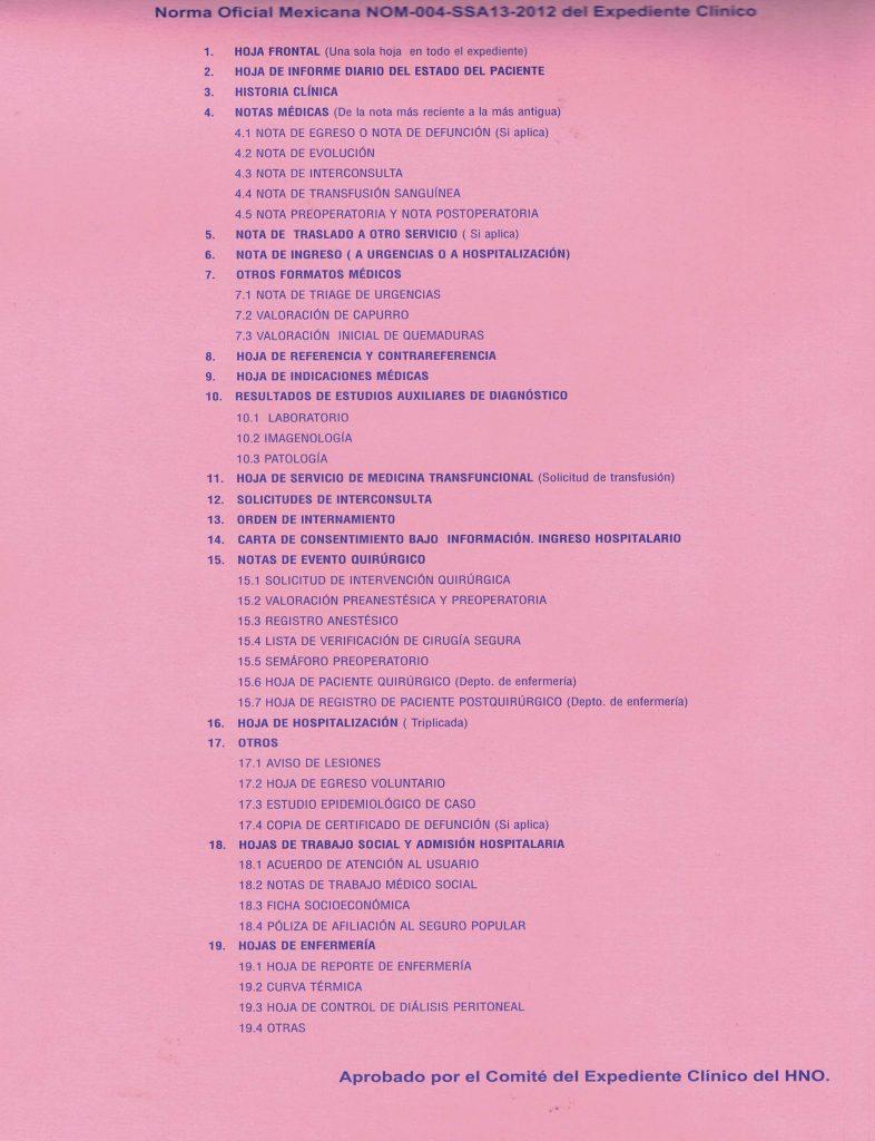 Lineamientos expediente clínico